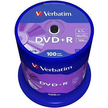 Verbatim DVD + R 16x, 100ks CakeBox