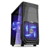 1stCOOL skriňa JAZZ 2, Midi Tower, AU, USB 3.0, Blue FAN, Transparet Side, bez zdroja, Black
